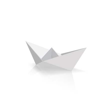Origami paper ship sailing on isolated white background. Vector illustrator. Иллюстрация