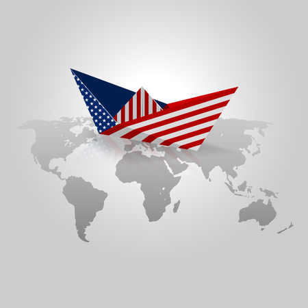 Paper boat with United States Flag. Origami paper with usa flag over world map vectors. concept of country economic.