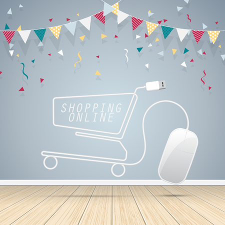 Computer mouse shopping cart with grey wall on wooden floor. Concept online shopping design . Vector illustration