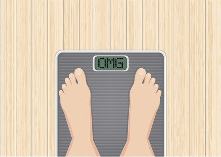 Feet on scales, Wooden desk background, woman feet on overweight scales, weight loss, diet, healthy lifestyle. Vector illustration on Top view.