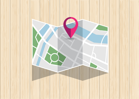Top view of GPS city map with mark pin folding on wooden desk. City map search place for direction. Vector illustration in flat design
