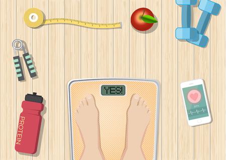 Sport e concetto di attrezzatura sana su sfondo di legno, cibo sano e banner di benessere, oggetti su un pavimento di legno, vista dall'alto