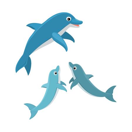 skin diving: Cute cartoon dolphin