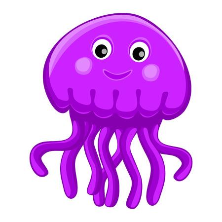 Personaje de dibujos animados medusas feliz lindo Ilustración de vector