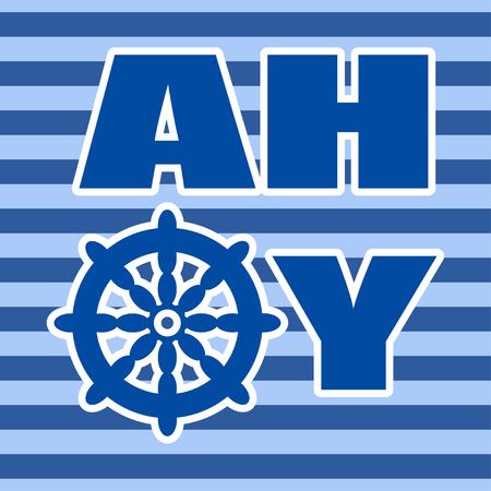 Arte de la pared pared de la sala tarjeta de decoración infantil Ahoy vivero con rueda de náutica en el fondo de rayas azul para el patrón de la tarjeta del partido del pirata, etiqueta de la pared, diseño de carteles, tarjetas de felicitación, las impresiones de la camiseta, los textiles Foto de archivo - 58228597