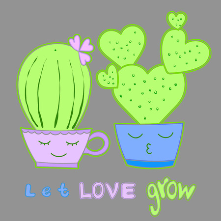 lovely couple: Heart shaped cactus in pot cacti Lovely couple cartoon Motivational words Inspiration shares, encouraging phrase, positive thinking for the poster, postcard, wedding card, wall decal, t shirt print Illustration