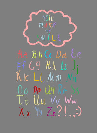 illustration Funny alphabet font colorful font set of ABC letters in  drawing style Bright letters font for school projects, thank you and greetings cards, posters, textiles  イラスト・ベクター素材