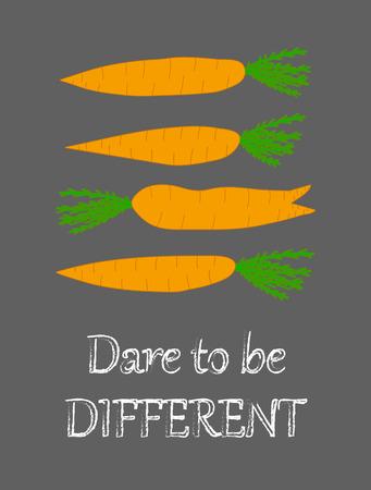Término de diferencia zanahorias anaranjadas en el fondo de la pizarra la frase divertida Fomentar la pared de la decoración de la cocina arte creativo posters Pensamiento positivo palabras de motivación Cita inspirada Atrévete a ser diferente Foto de archivo - 58228602