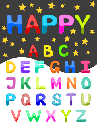 Colorful alphabet Uppercase font set of ABC letters in bright colors Funny cartoon alphabet on starry night sky background illustration for scrap booking, school projects, posters, textiles 矢量图像