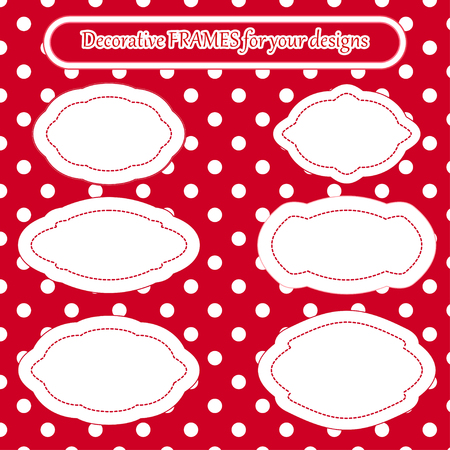 Decorative frames set labels Cute frames collection Empty border frames label templates stickers on antique pink roses and white polka dot background in old style packaging, greeting cards design