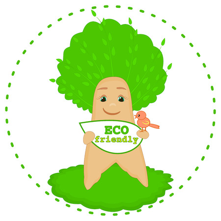 Eco friendly icon Paper recycling Tree and nature protection concept for kids Smiling baby tree cartoon character with a little bird Ecology concept Environmental symbol theme graphic