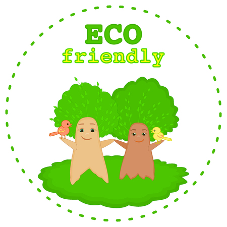 Smiling baby trees cartoon characters on a green grass Ecology concept Environmental symbol theme graphic Eco friendly icon Paper recycling Tree and nature protection concept for kids