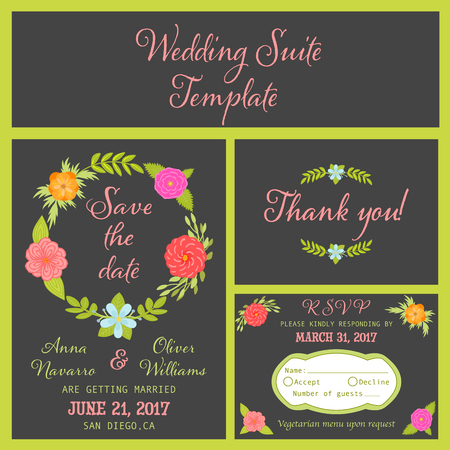 Boho wedding invitation card set, Save the date card, RSVP Card and Thank you card template suite with colorful flowers and leaves  イラスト・ベクター素材