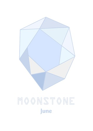 Moonstone gem stone, Pale blue crystal, Gems and mineral crystal vector illustration, June birthstone gemstone