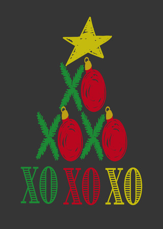 Funny Christmas card template Christmas tree branches with red baubles and Christmas star, hand drawn Christmas card vector illustration, XO Hugs and kisses card  イラスト・ベクター素材