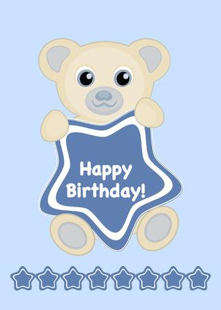 Tarjeta de feliz cumpleaños de ilustración vectorial, lindo bebé oso con marco de estrella y feliz cumpleaños de texto Foto de archivo - 67207851