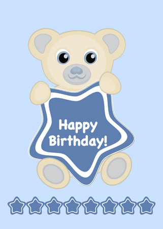 Vector illustration happy birthday card, Cute baby bear with star frame and text Happy Birthday 矢量图像