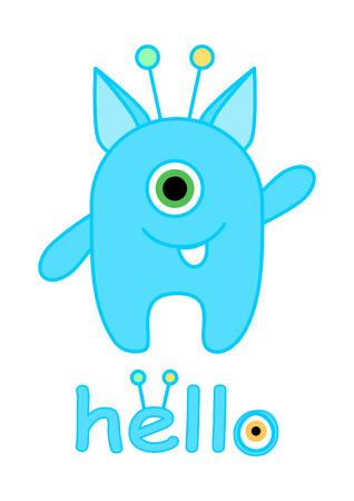 Little monster vector illustration, Cute monster cartoon
