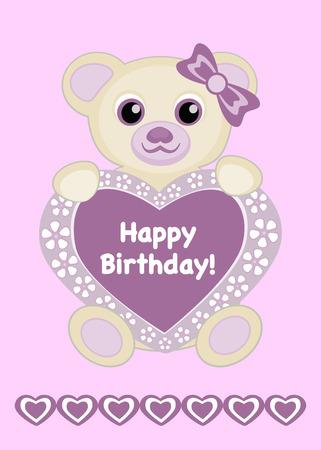 Baby girl birthday card vector illustration, Cute baby bear with heart frame and text Happy Birthday, Cartoon baby animal vector