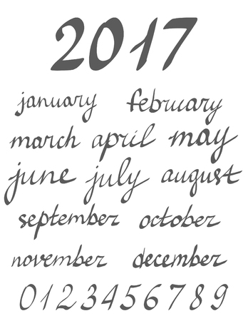 Hand written calligraphy months of the year, names of months vector lettering