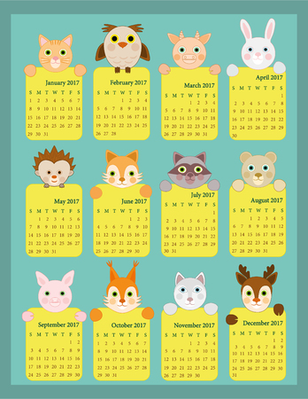 Calendar 2017 for kids, Animal calendar 2017, 12 month calendar for kids 矢量图像
