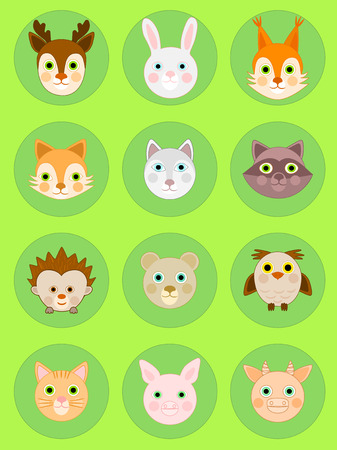 Animal faces icon, animal head vector, cartoon icon set