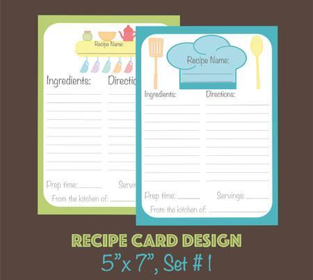 Recipe cards vector template, recipe cards decorated with kitchenware elements  イラスト・ベクター素材
