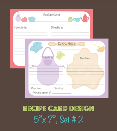 Vector cute recipe cards, recipe cards decorated with kitchenware elements