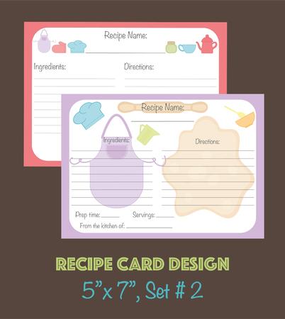 Vector tarjetas de receta linda, tarjetas de recetas decoradas con elementos de cocina Foto de archivo - 74565582