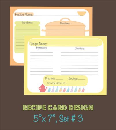 Tarjeta de receta decorada con elementos de utensilios de cocina, Vector de tarjetas de receta linda Foto de archivo - 74565583