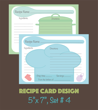 Recipe cards template, vector design Cute recipe cards, recipe cards decorated with kitchenware elements  イラスト・ベクター素材