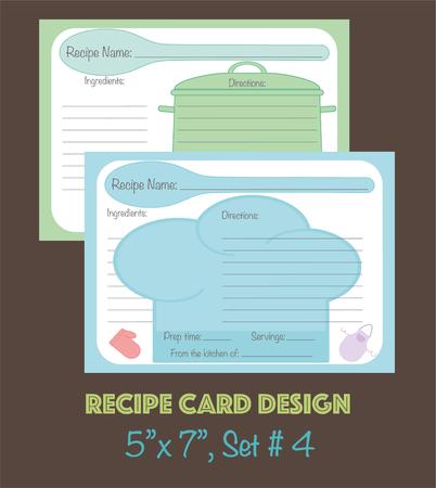 Plantilla de tarjetas de receta, diseño vectorial Vectores Tarjetas de receta linda, tarjetas de receta decoradas con elementos de utensilios de cocina Foto de archivo - 74565584