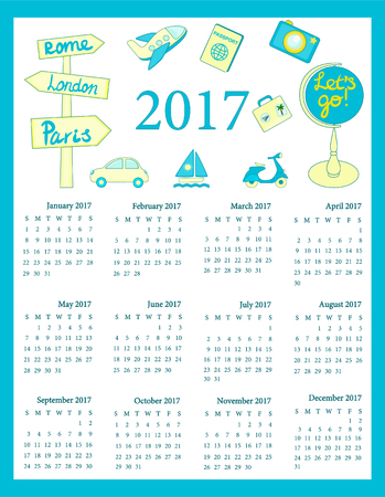 Calendar 2017 for kids, Travel calendar 2017, 12 month calendar for kids