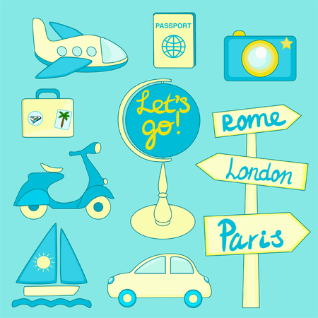 Transportation icons set Travel icons vector set  イラスト・ベクター素材