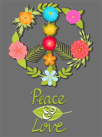 Flower peace and love symbol, hand written posters shares. Vector design elements. 矢量图像