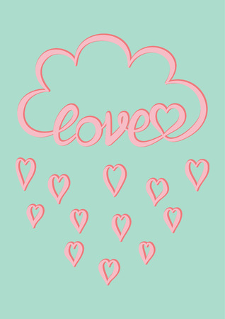 Love card, Pink cloud with hand written word Love and pink heart rain drops on mint green background, Valentine's day card design template