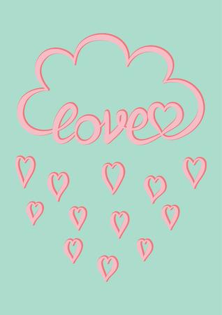 Tarjeta de amor, nube rosa con palabra escrita a mano Amor y gota de lluvia rosada del corazón sobre fondo verde menta, plantilla de diseño de tarjeta del día de San Valentín Foto de archivo - 74617679