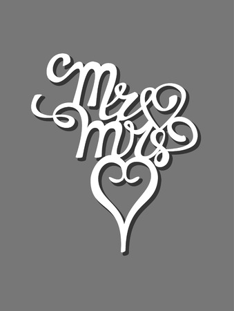 Mr and Mrs wedding cake topper vector design, Mr Mrs calligraphy swirls pattern, hand written calligraphy