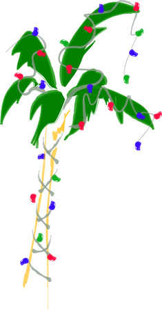 Holiday Palm Tree with Lights Illustration