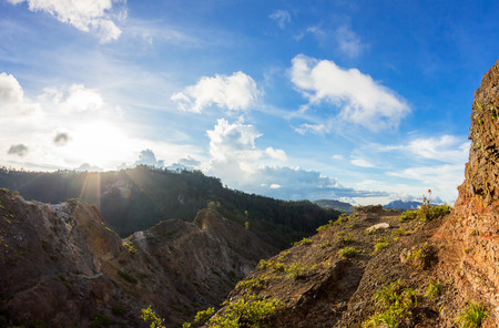 ende: Weathered Crater on sunset, Caldera of Kelimutu, Flores Island, Indonesia.