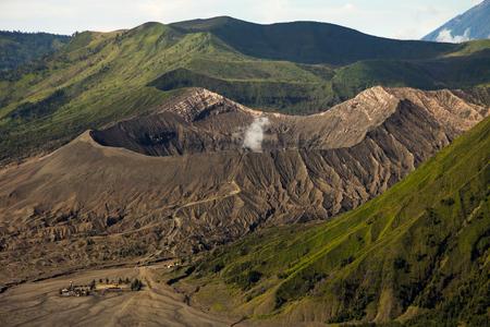Trekking path to Mount Bromo Volcano close-up, Java, Indonesia.