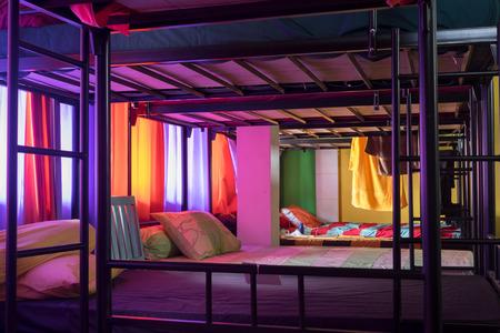 literas: Bali, Indonesia. December 2016. Hostel Dormitory Interior.