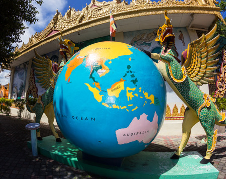 Giant asian globe with South-East Asia and Australia on it