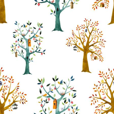 animal nest: tree, watercolor, baby