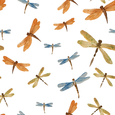 watercolor dragonfly insect pattern background pattern symbol photo