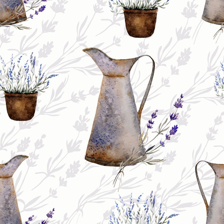 herbs of provence: Provence lavender pattern decor flowers vector colored
