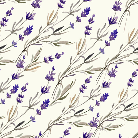 single flowers: Provence lavender pattern decor flowers vector colored
