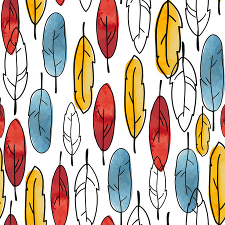 fon: Beautiful colourful vector pattern with feather white fon