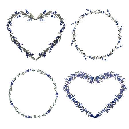 Lavanda wreath beautiful vector pattern four items