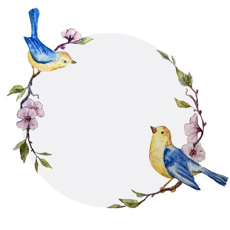 白い fon の鳥と美しいベクトル フレーム  イラスト・ベクター素材